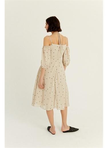 Rue Bej Düğüm Detaylı Çift Askılı Elbise Bej